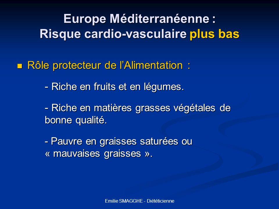 Emilie SMAGGHE - Diététicienne Europe Méditerranéenne : Risque cardio-vasculaire plus bas Rôle protecteur de lAlimentation : Rôle protecteur de lAlime