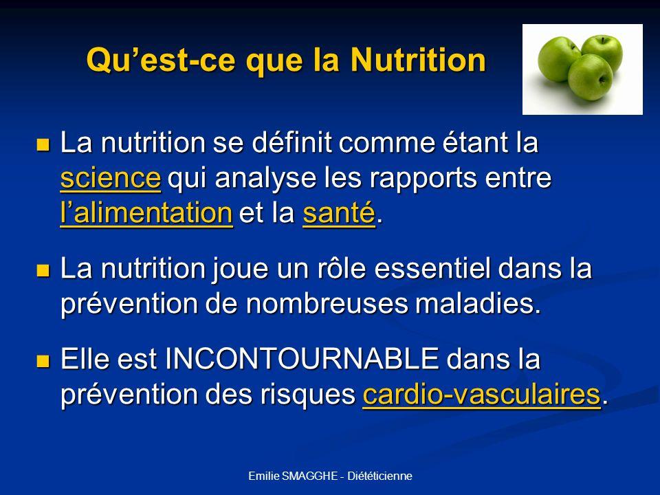 Emilie SMAGGHE - Diététicienne Quest-ce que la Nutrition Quest-ce que la Nutrition La nutrition se définit comme étant la science qui analyse les rapp