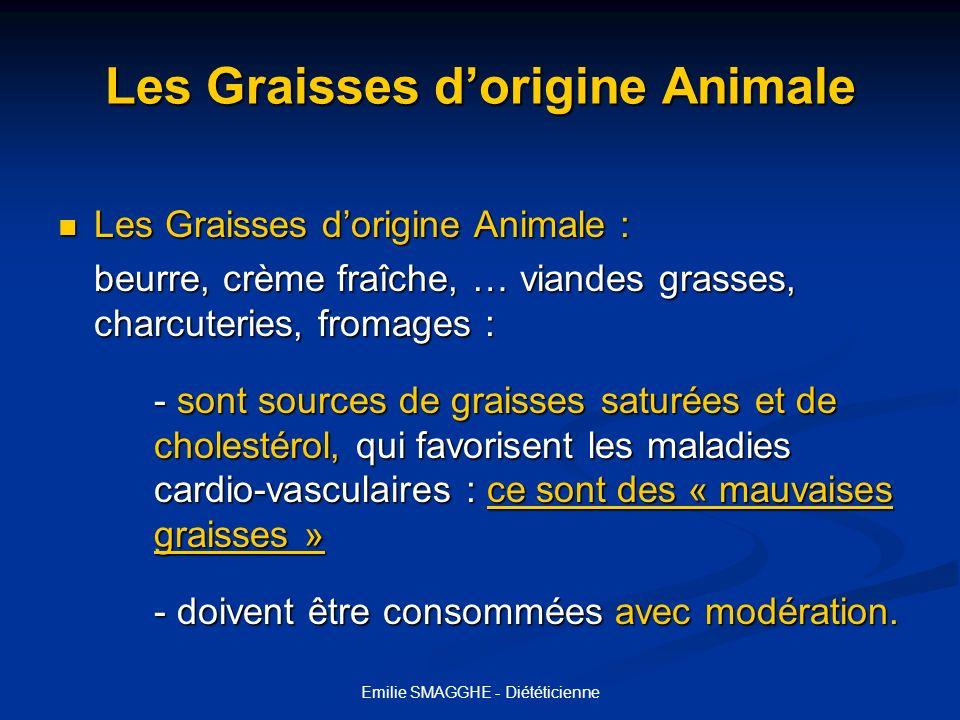 Emilie SMAGGHE - Diététicienne Les Graisses dorigine Végétale Les Graisses dorigine Végétale : Les Graisses dorigine Végétale : Fruits oléagineux (noix, cacahuètes, amandes…) Huiles, margarines 100% végétales.