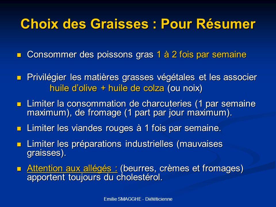 Emilie SMAGGHE - Diététicienne Choix des Graisses : Pour Résumer Consommer des poissons gras 1 à 2 fois par semaine Consommer des poissons gras 1 à 2