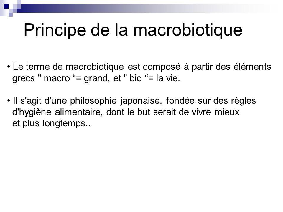 Les objectifs de la macrobiotique Le but de la macrobiotique est latteinte dun équilibre entre lhomme, lenvironnement et lunivers.