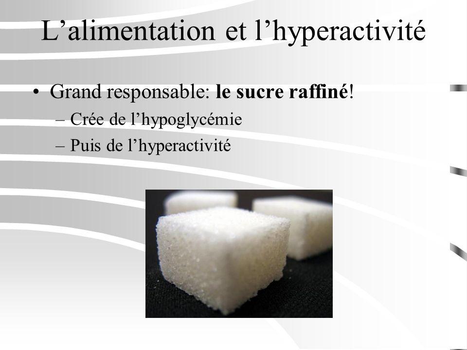 Lalimentation et lhyperactivité Grand responsable: le sucre raffiné! –Crée de lhypoglycémie –Puis de lhyperactivité