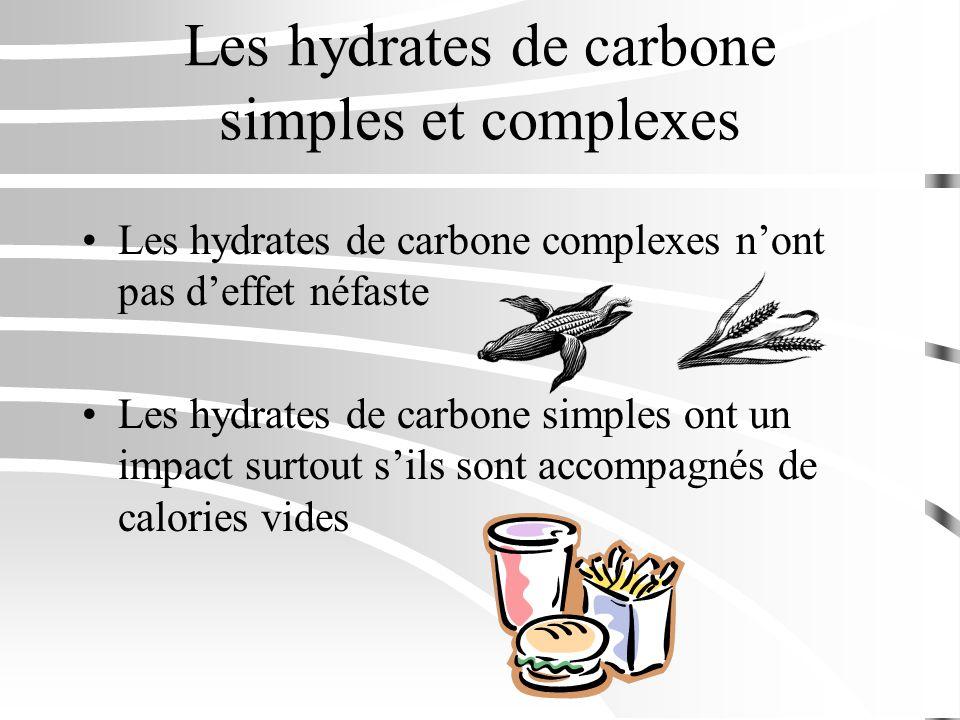 Les hydrates de carbone simples et complexes Les hydrates de carbone complexes nont pas deffet néfaste Les hydrates de carbone simples ont un impact s