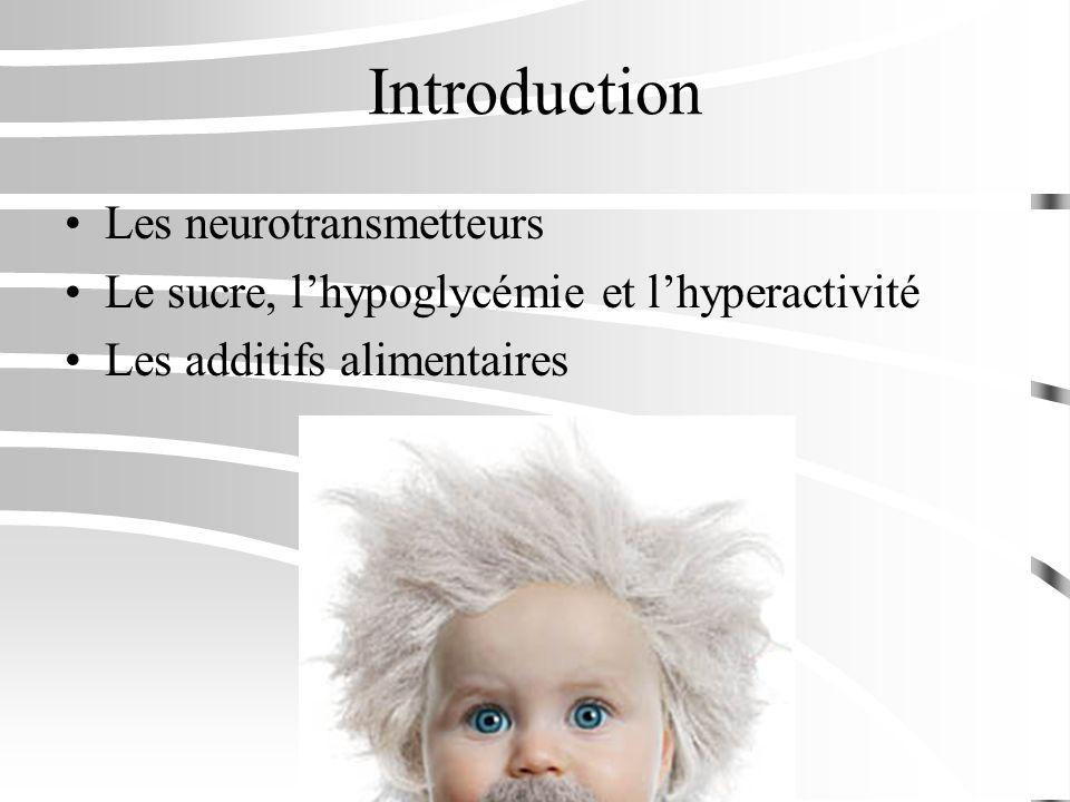 Introduction Les neurotransmetteurs Le sucre, lhypoglycémie et lhyperactivité Les additifs alimentaires