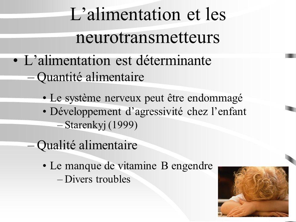 Lalimentation et les neurotransmetteurs Lalimentation est déterminante –Quantité alimentaire Le système nerveux peut être endommagé Développement dagr