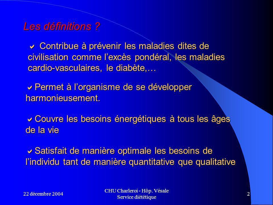 22 décembre 2004 CHU Charleroi - Hôp.Vésale Service diététique 2 Les définitions .