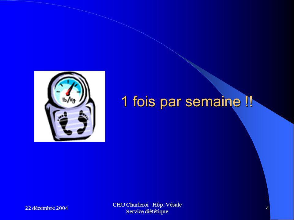 22 décembre 2004 CHU Charleroi - Hôp. Vésale Service diététique 4 1 fois par semaine !!