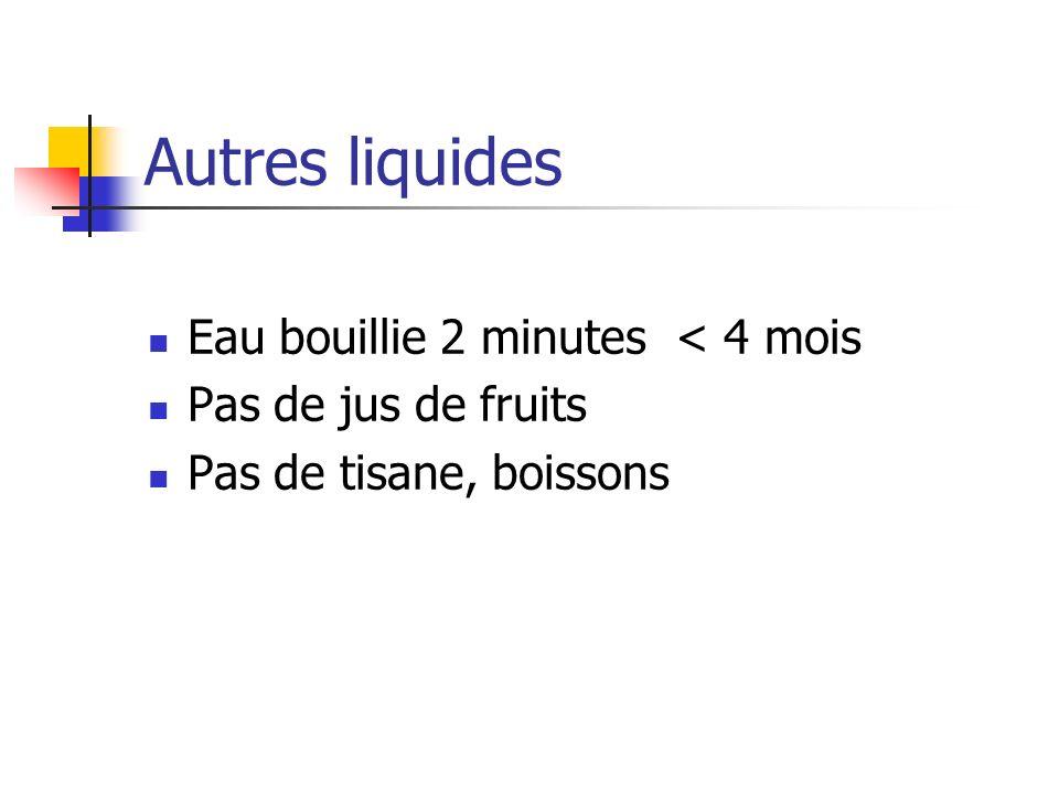 Autres liquides Eau bouillie 2 minutes < 4 mois Pas de jus de fruits Pas de tisane, boissons