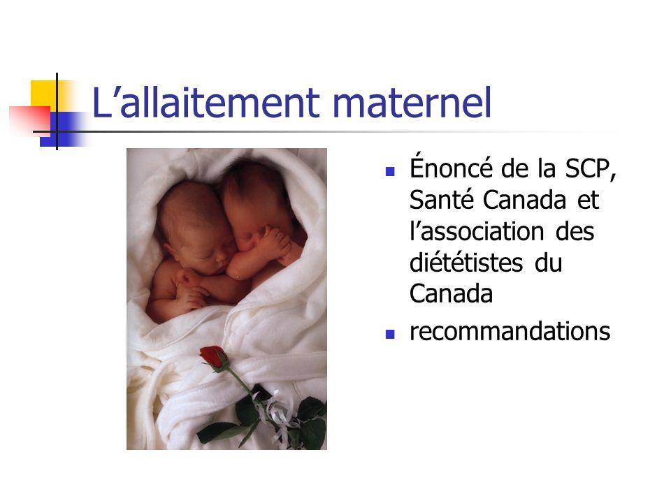 Lallaitement maternel Énoncé de la SCP, Santé Canada et lassociation des diététistes du Canada recommandations