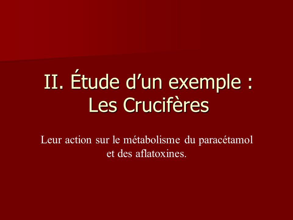II. Étude dun exemple : Les Crucifères Leur action sur le métabolisme du paracétamol et des aflatoxines.