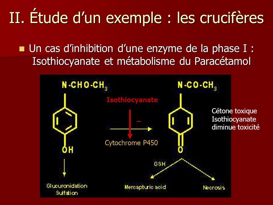 II. Étude dun exemple : les crucifères Un cas dinhibition dune enzyme de la phase I : Isothiocyanate et métabolisme du Paracétamol Un cas dinhibition