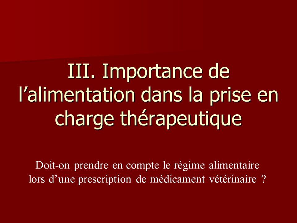 III. Importance de lalimentation dans la prise en charge thérapeutique Doit-on prendre en compte le régime alimentaire lors dune prescription de médic