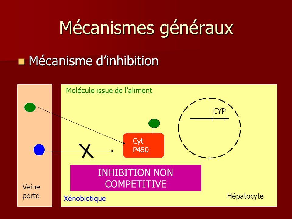 Mécanismes généraux Mécanisme dinhibition Mécanisme dinhibition Cyt P450 Molécule issue de laliment Xénobiotique Veine porte INHIBITION NON COMPETITIVE CYP Hépatocyte
