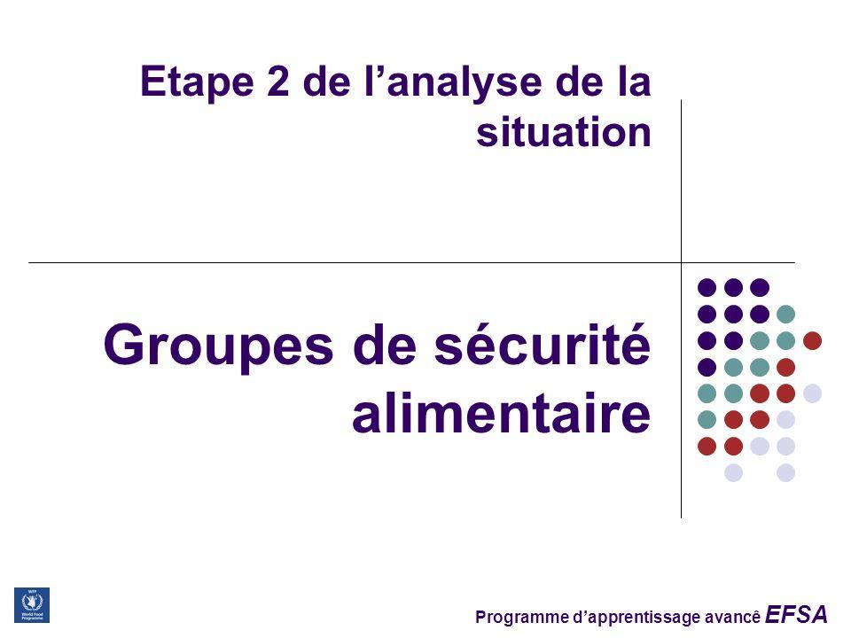 Programme dapprentissage avancê EFSA Etape 2 de lanalyse de la situation Groupes de sécurité alimentaire