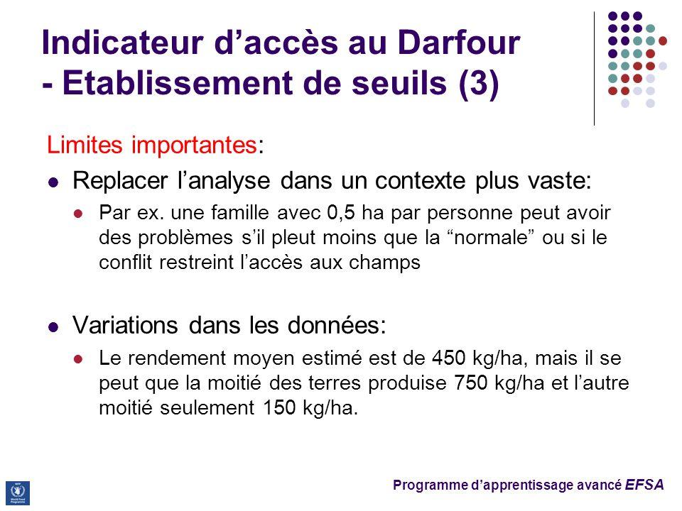 Programme dapprentissage avancé EFSA Limites importantes: Replacer lanalyse dans un contexte plus vaste: Par ex.