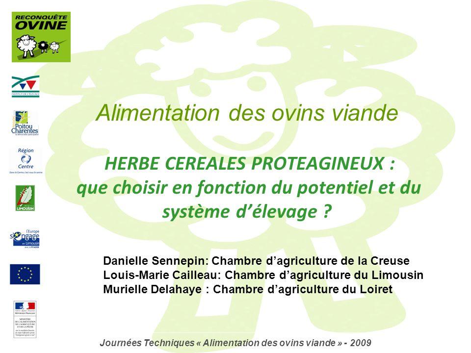 Alimentation des ovins viande HERBE CEREALES PROTEAGINEUX : que choisir en fonction du potentiel et du système délevage ? Journées Techniques « Alimen