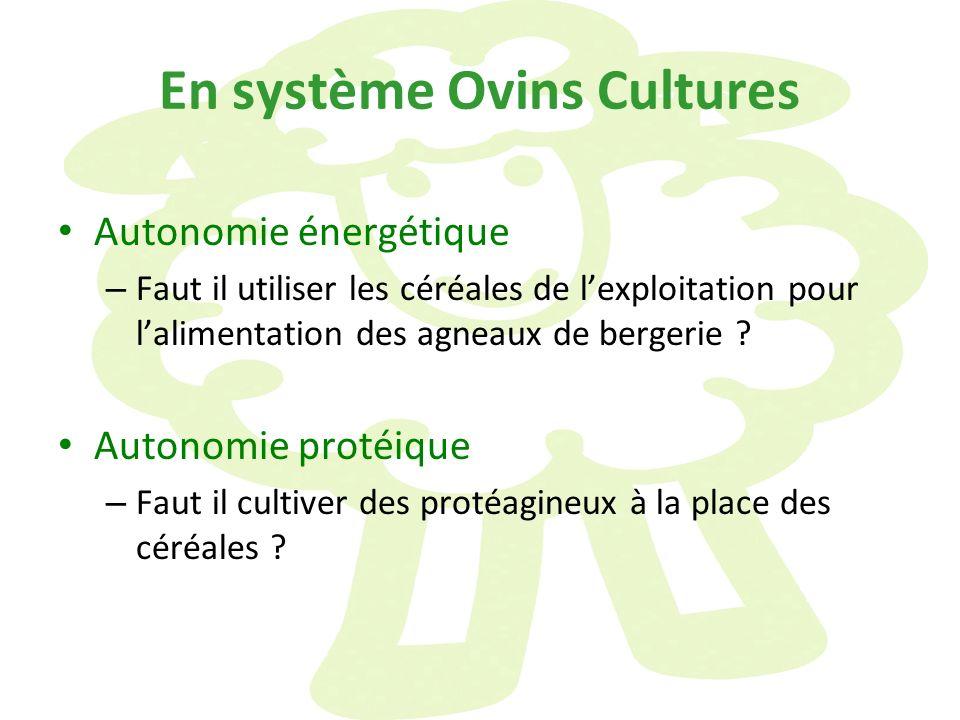 En système Ovins Cultures Autonomie énergétique – Faut il utiliser les céréales de lexploitation pour lalimentation des agneaux de bergerie ? Autonomi