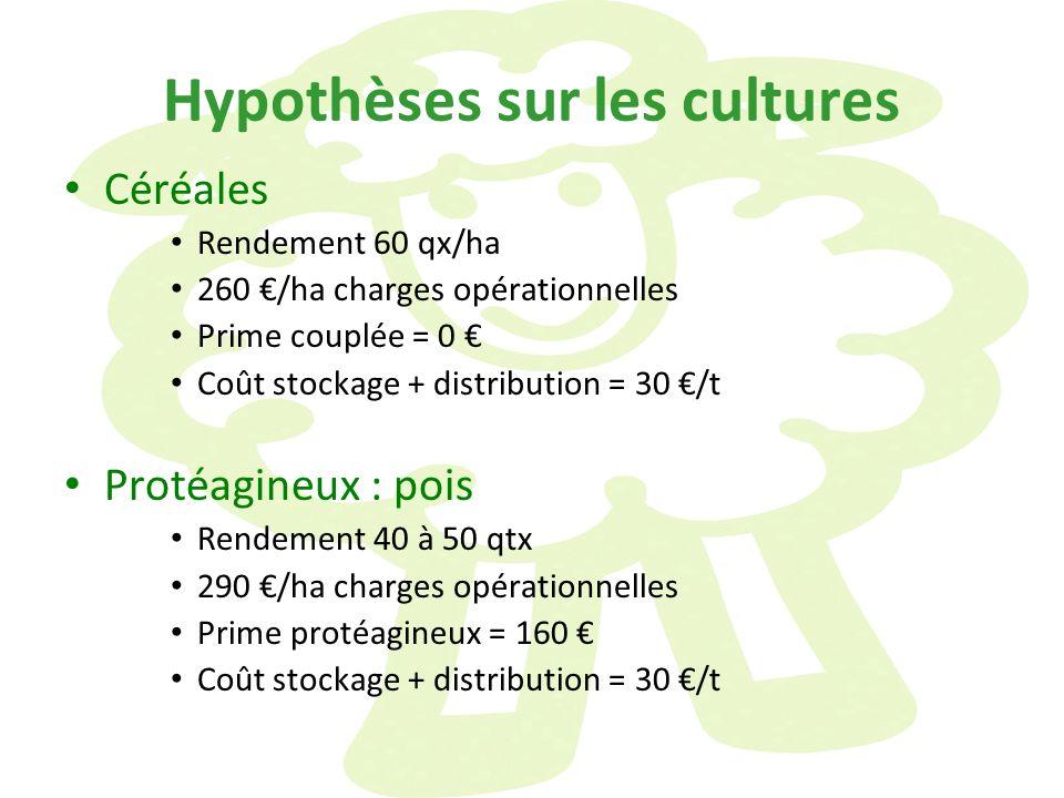 Hypothèses sur les cultures Céréales Rendement 60 qx/ha 260 /ha charges opérationnelles Prime couplée = 0 Coût stockage + distribution = 30 /t Protéag