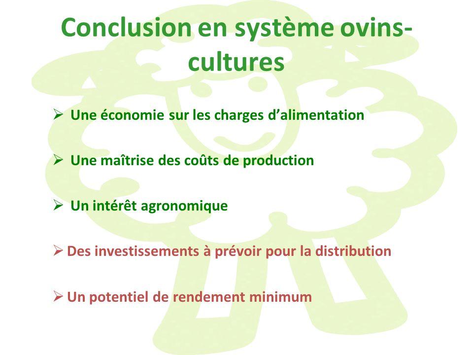 Conclusion en système ovins- cultures Une économie sur les charges dalimentation Une maîtrise des coûts de production Un intérêt agronomique Des inves