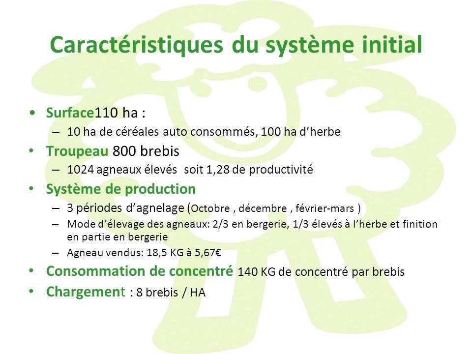 Caractéristiques du système initial Surface110 ha : – 10 ha de céréales auto consommés, 100 ha dherbe Troupeau 800 brebis – 1024 agneaux élevés soit 1