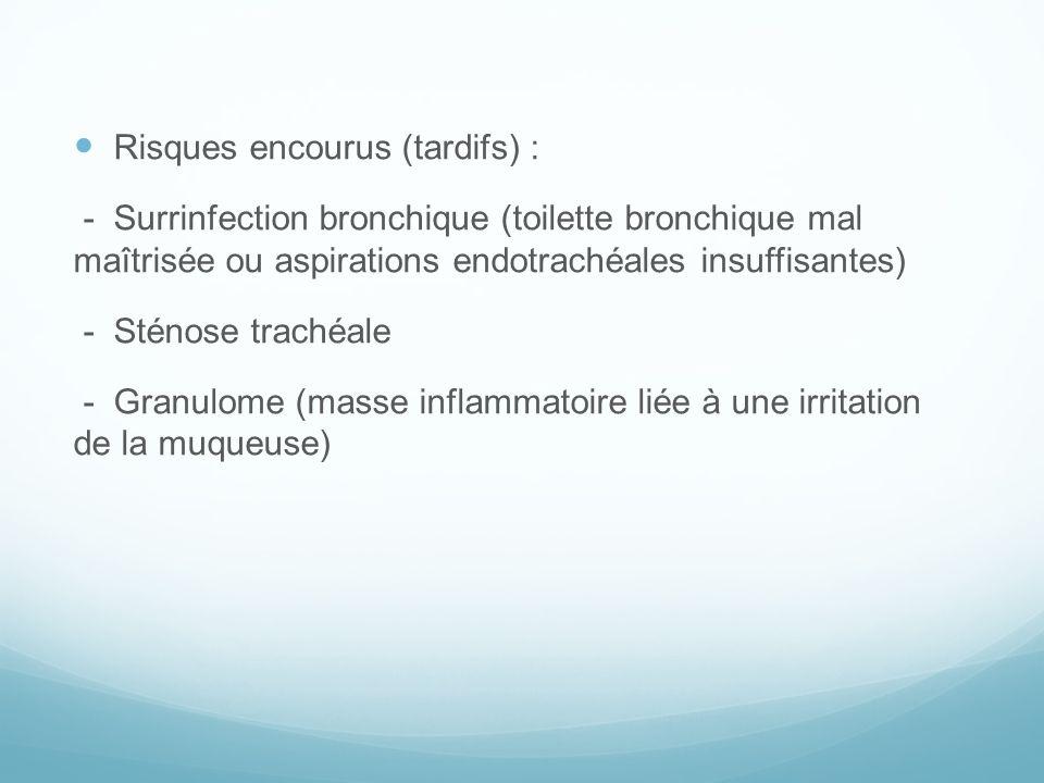 Risques encourus (tardifs) : - Surrinfection bronchique (toilette bronchique mal maîtrisée ou aspirations endotrachéales insuffisantes) - Sténose trac