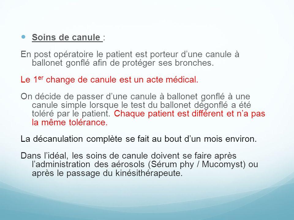 Soins de canule : En post opératoire le patient est porteur dune canule à ballonet gonflé afin de protéger ses bronches. Le 1 er change de canule est