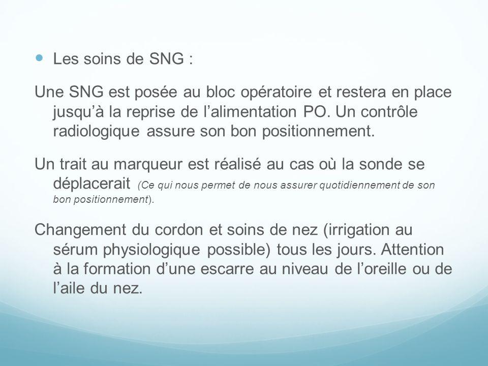 Les soins de SNG : Une SNG est posée au bloc opératoire et restera en place jusquà la reprise de lalimentation PO. Un contrôle radiologique assure son