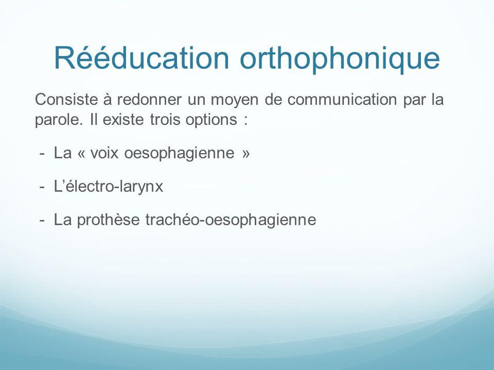 Rééducation orthophonique Consiste à redonner un moyen de communication par la parole. Il existe trois options : - La « voix oesophagienne » - Lélectr