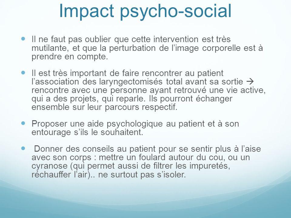 Impact psycho-social Il ne faut pas oublier que cette intervention est très mutilante, et que la perturbation de limage corporelle est à prendre en co