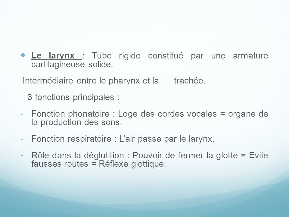 Le larynx : Tube rigide constitué par une armature cartilagineuse solide. Intermédiaire entre le pharynx et la trachée. 3 fonctions principales : - Fo
