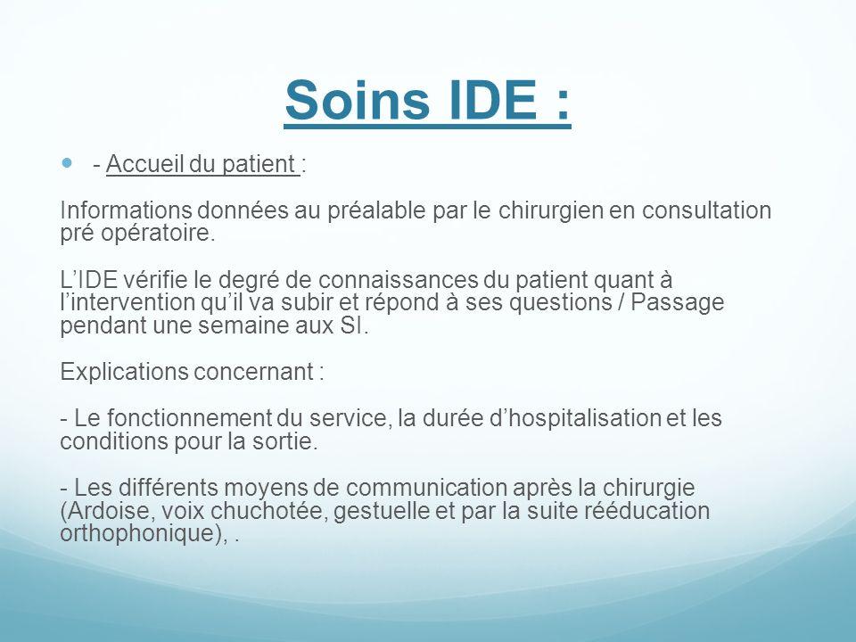 Soins IDE : - Accueil du patient : Informations données au préalable par le chirurgien en consultation pré opératoire. LIDE vérifie le degré de connai