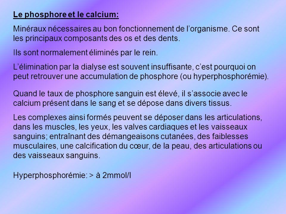 Le phosphore et le calcium: Minéraux nécessaires au bon fonctionnement de lorganisme. Ce sont les principaux composants des os et des dents. Ils sont