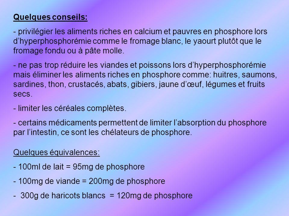 Quelques conseils: - privilégier les aliments riches en calcium et pauvres en phosphore lors dhyperphosphorémie comme le fromage blanc, le yaourt plut