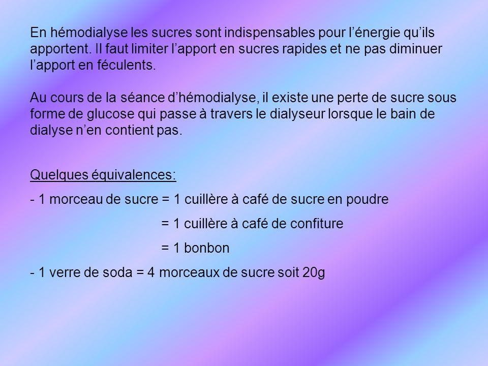 Quelques équivalences: - 1 morceau de sucre = 1 cuillère à café de sucre en poudre = 1 cuillère à café de confiture = 1 bonbon - 1 verre de soda = 4 m