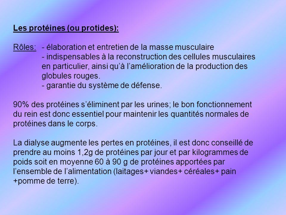Les protéines (ou protides): Rôles: - élaboration et entretien de la masse musculaire - indispensables à la reconstruction des cellules musculaires en