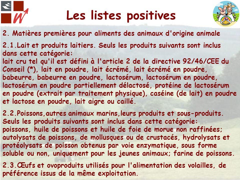 Les listes positives 2. Matières premières pour aliments des animaux d'origine animale 2.1.Lait et produits laitiers. Seuls les produits suivants sont