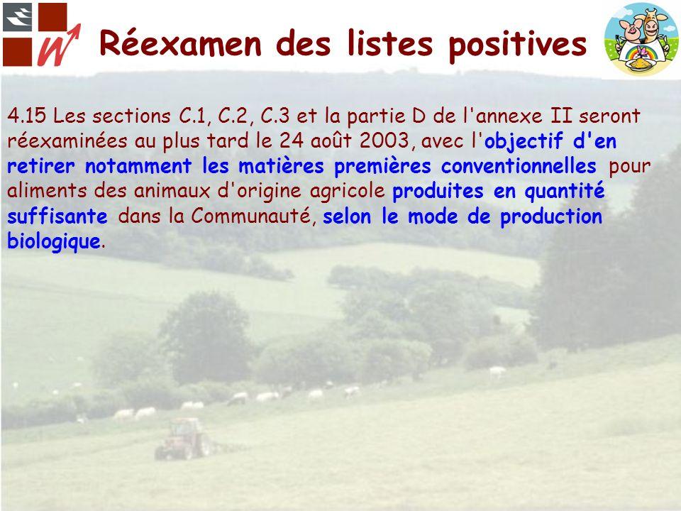 Réexamen des listes positives 4.15 Les sections C.1, C.2, C.3 et la partie D de l'annexe II seront réexaminées au plus tard le 24 août 2003, avec l'ob
