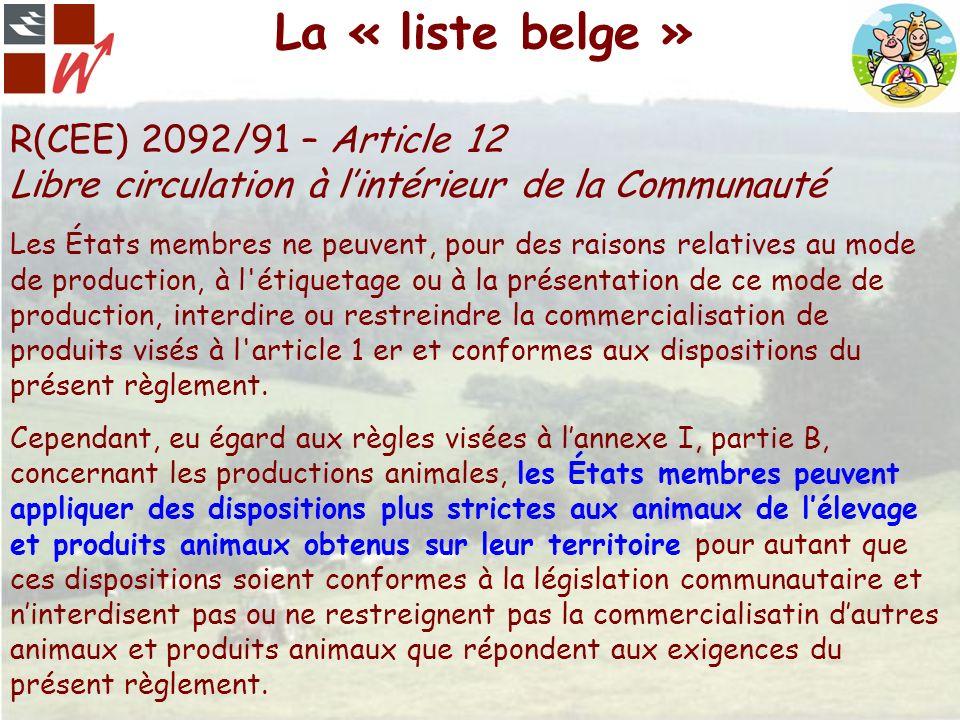 La « liste belge » R(CEE) 2092/91 – Article 12 Libre circulation à lintérieur de la Communauté Les États membres ne peuvent, pour des raisons relative