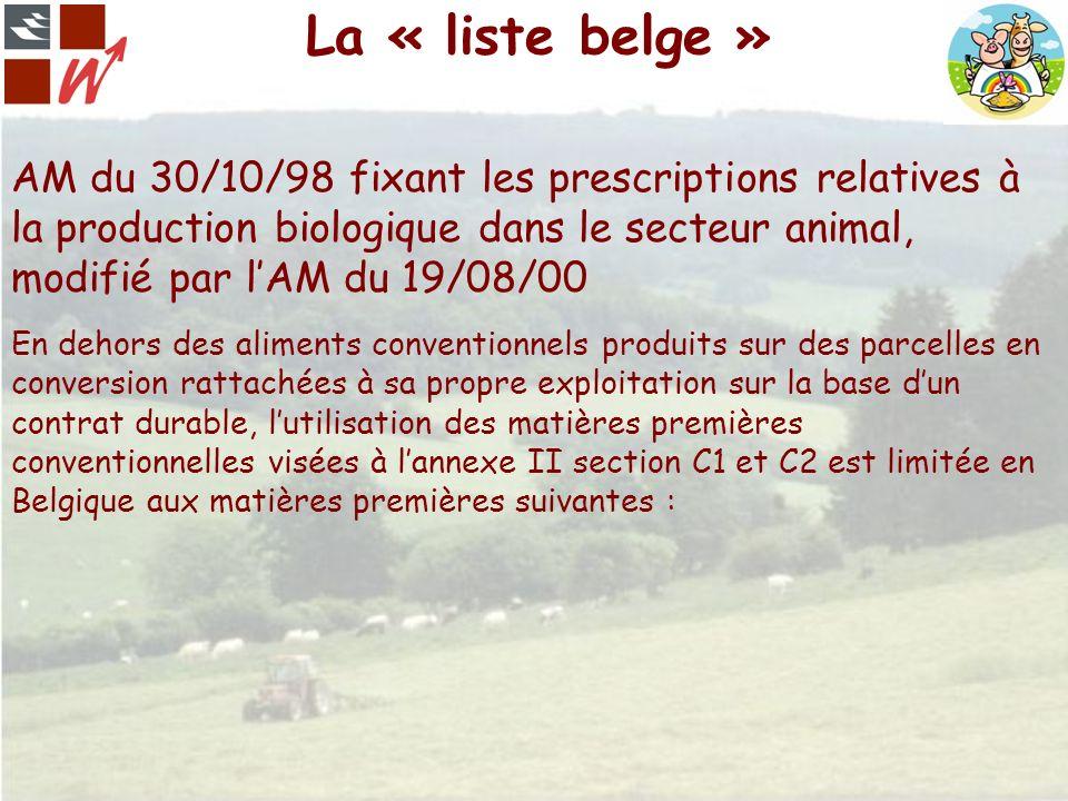 La « liste belge » AM du 30/10/98 fixant les prescriptions relatives à la production biologique dans le secteur animal, modifié par lAM du 19/08/00 En