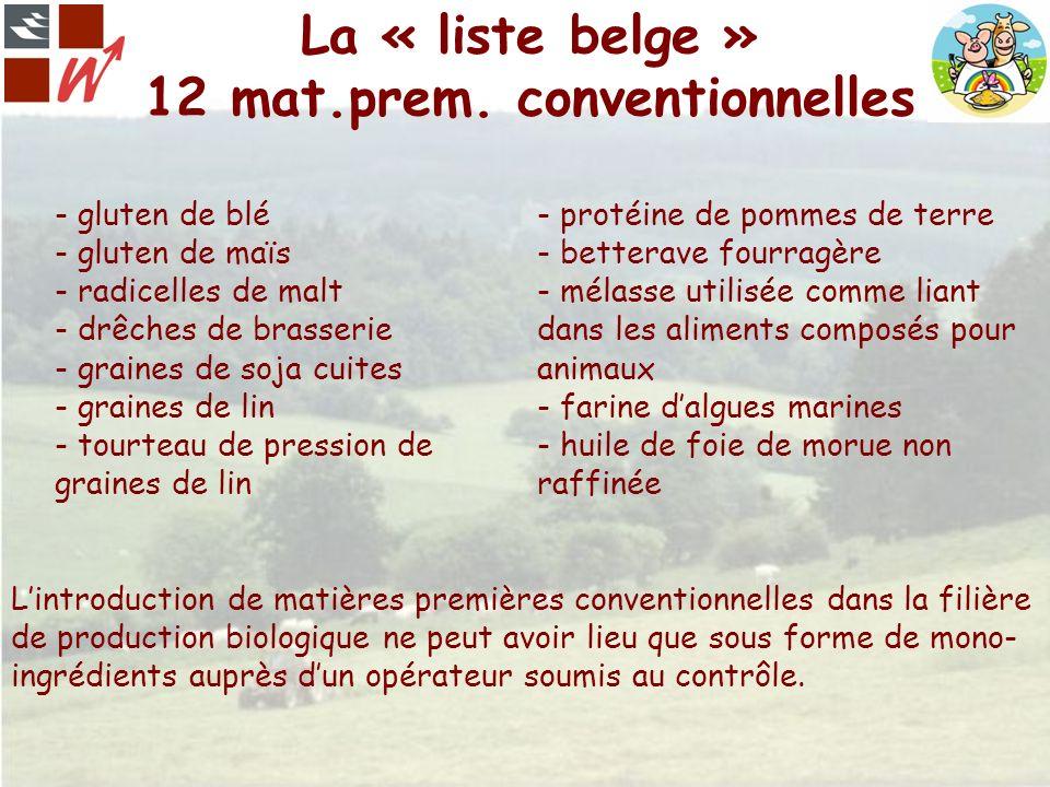 La « liste belge » 12 mat.prem. conventionnelles - gluten de blé - protéine de pommes de terre - gluten de maïs- betterave fourragère - radicelles de