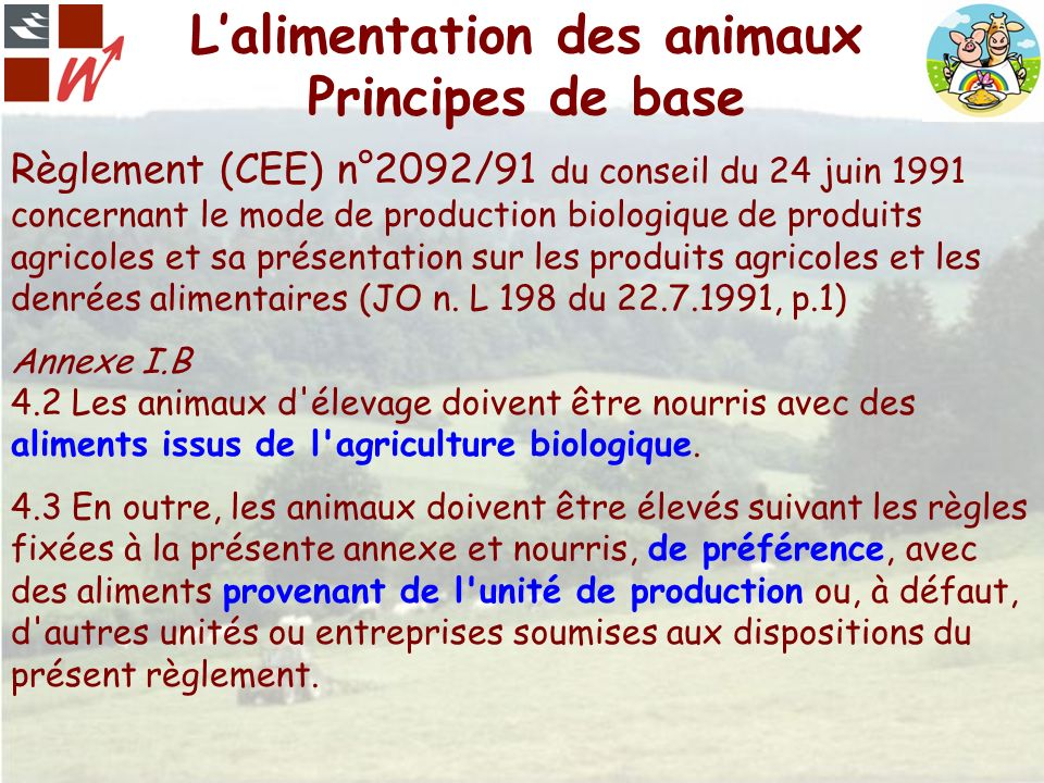 Lalimentation des animaux Principes de base Règlement (CEE) n°2092/91 du conseil du 24 juin 1991 concernant le mode de production biologique de produi