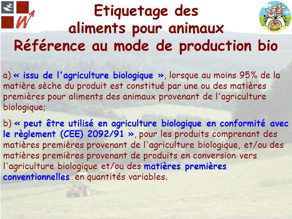 Etiquetage des aliments pour animaux Référence au mode de production bio a) « issu de l'agriculture biologique », lorsque au moins 95% de la matière s