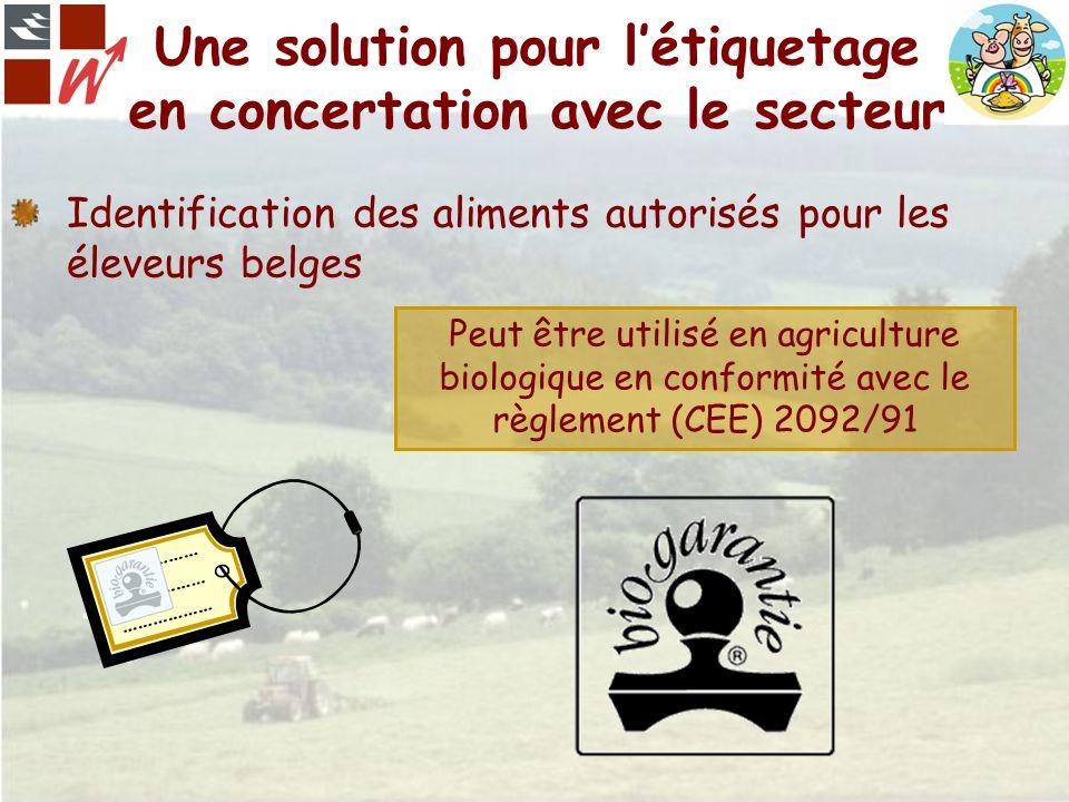 Une solution pour létiquetage en concertation avec le secteur Identification des aliments autorisés pour les éleveurs belges ……………… Peut être utilisé
