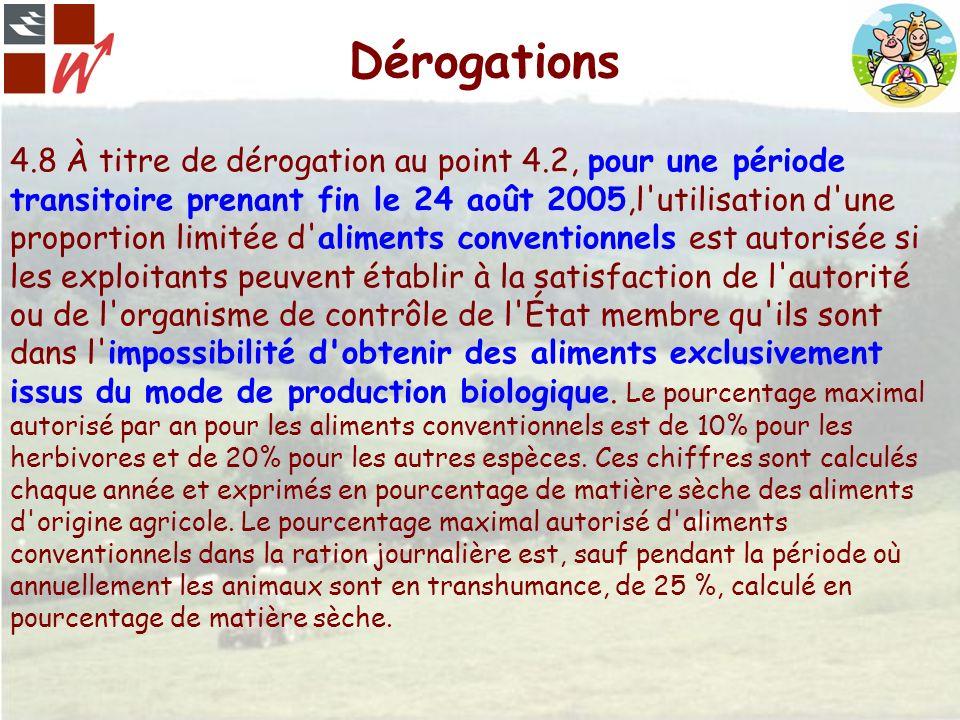 Dérogations 4.8 À titre de dérogation au point 4.2, pour une période transitoire prenant fin le 24 août 2005,l'utilisation d'une proportion limitée d'