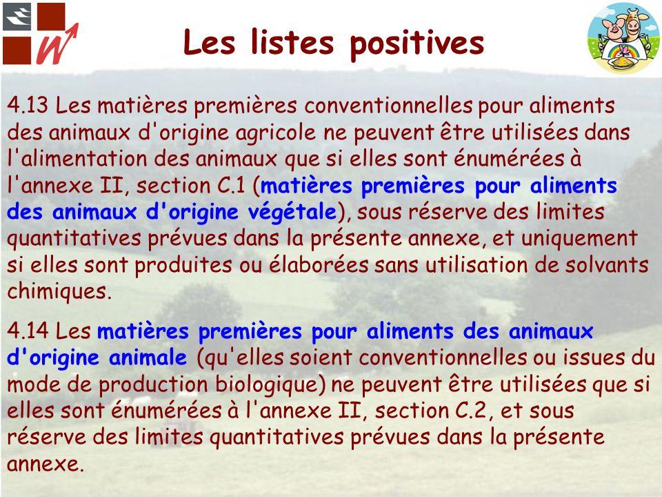 Les listes positives 4.13 Les matières premières conventionnelles pour aliments des animaux d'origine agricole ne peuvent être utilisées dans l'alimen