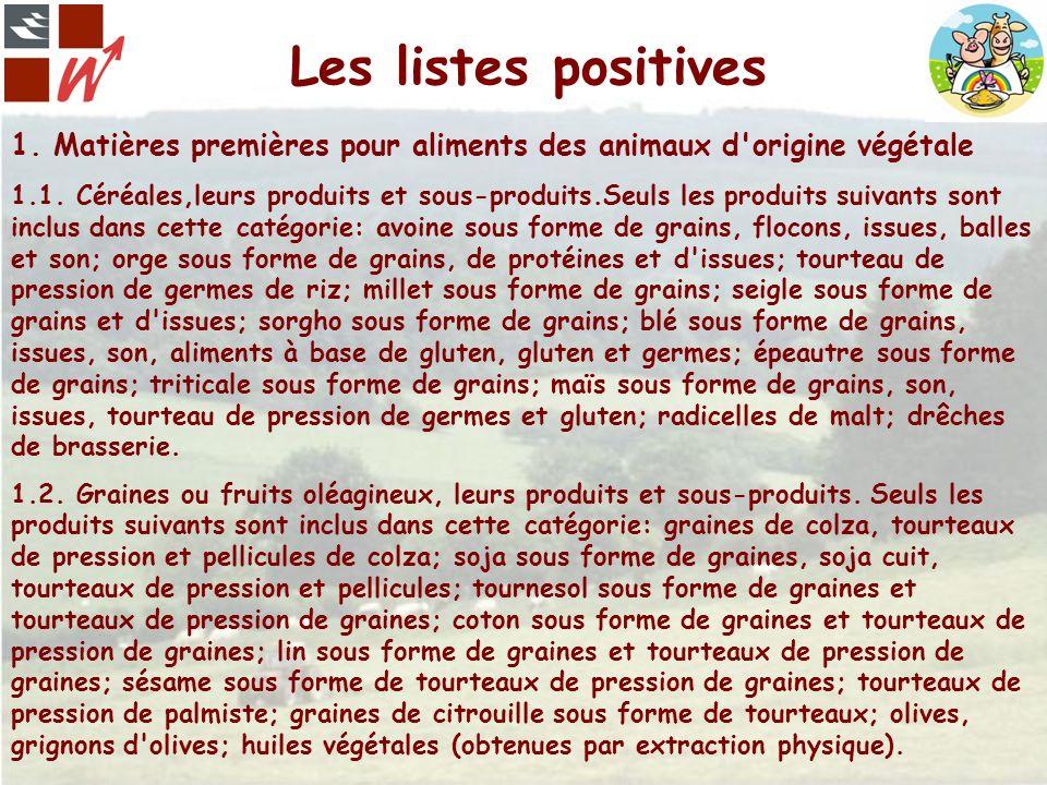 Les listes positives 1. Matières premières pour aliments des animaux d'origine végétale 1.1. Céréales,leurs produits et sous-produits.Seuls les produi