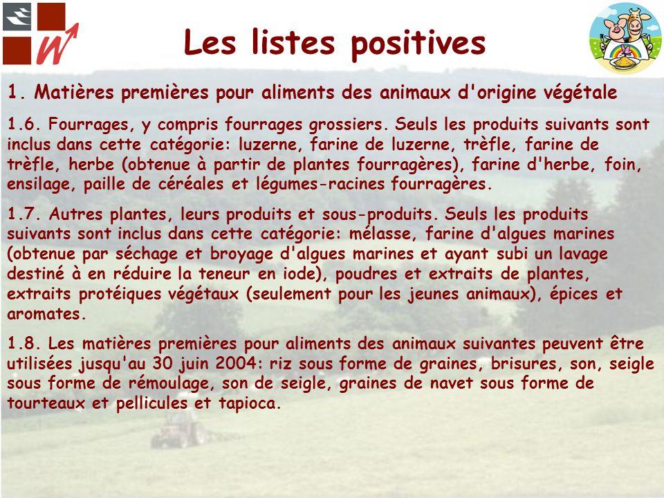Les listes positives 1. Matières premières pour aliments des animaux d'origine végétale 1.6. Fourrages, y compris fourrages grossiers. Seuls les produ
