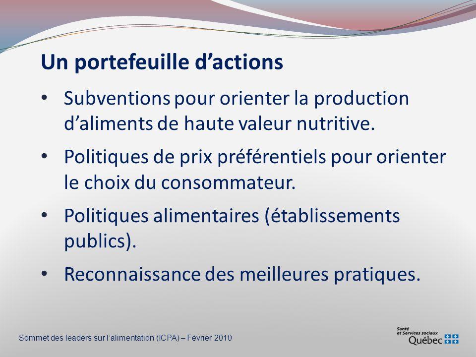 Un portefeuille dactions Subventions pour orienter la production daliments de haute valeur nutritive.