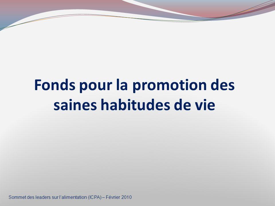 Fonds pour la promotion des saines habitudes de vie Sommet des leaders sur lalimentation (ICPA) – Février 2010