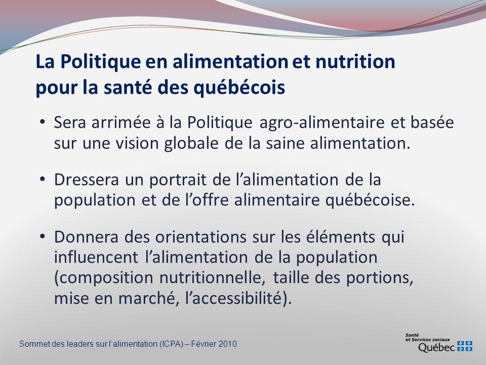 Apport maximum tolérable: 2300 mg Consommation excessive de sodium Consommation moyenne -Québec: 3350 mg -Canada: 3092 mg HOMMES FEMMES Sommet des leaders sur lalimentation (ICPA) – Février 2010